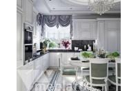 Большая классическая кухня в белом цвете