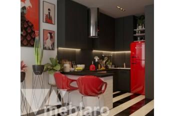 П-образная черная мини-кухня